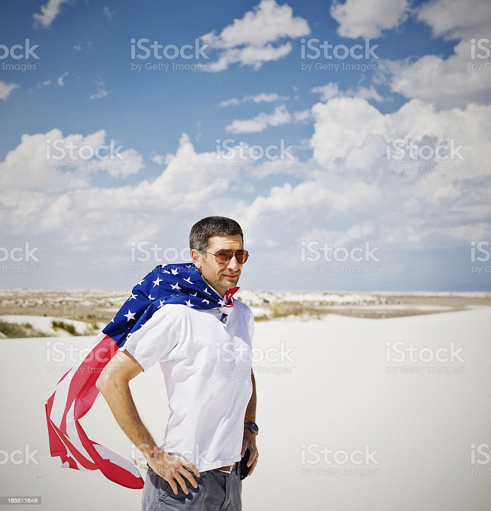 American Flag, Desert, Voter and Political Landscape royalty-free stock photo