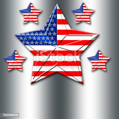 istock American Flag designed Stars, 5 pointed stars with the the Amarican Blue, Red and white, Stars and stripes, isolated against the silver background. 700599836