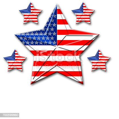 istock American Flag designed Stars, 5 pointed stars with the the Amarican Blue, Red and white, Stars and stripes, isolated against the white background. 700599860