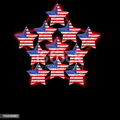 istock American Flag designed Stars, 5 pointed stars with the the Amarican Blue, Red and white, Stars and stripes, isolated against the black background. 700599862