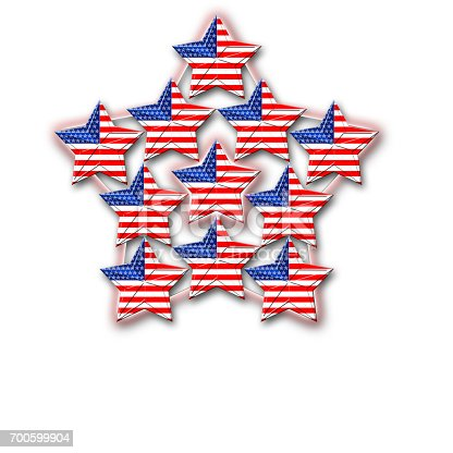 istock American Flag designed Stars, 5 pointed stars with the the Amarican Blue, Red and white, Stars and stripes, isolated against the white background. 700599904