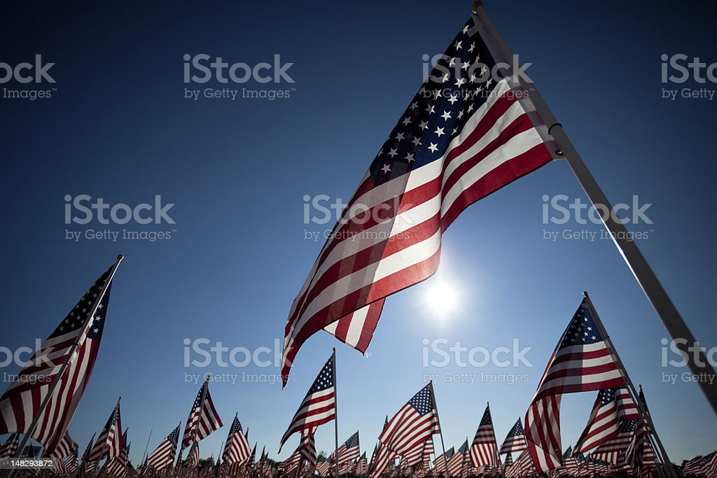 American Flag display commemorating national holiday memorial or veterans day stock photo