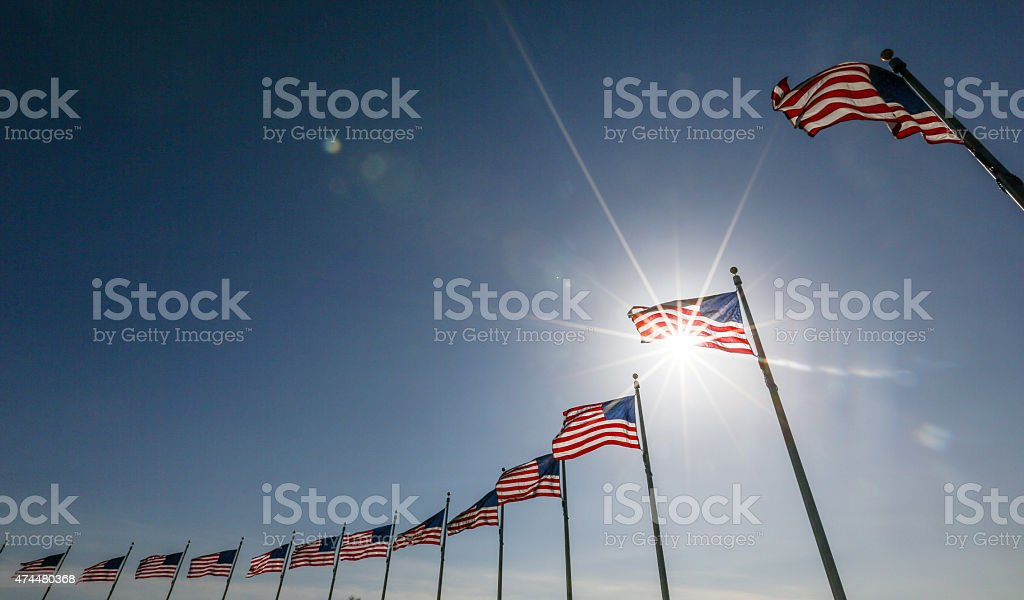 American Flag display commemorating national holiday memorial or stock photo