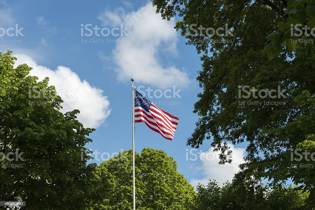 American flag flying at U.S. Embassy in Ireland stock photo