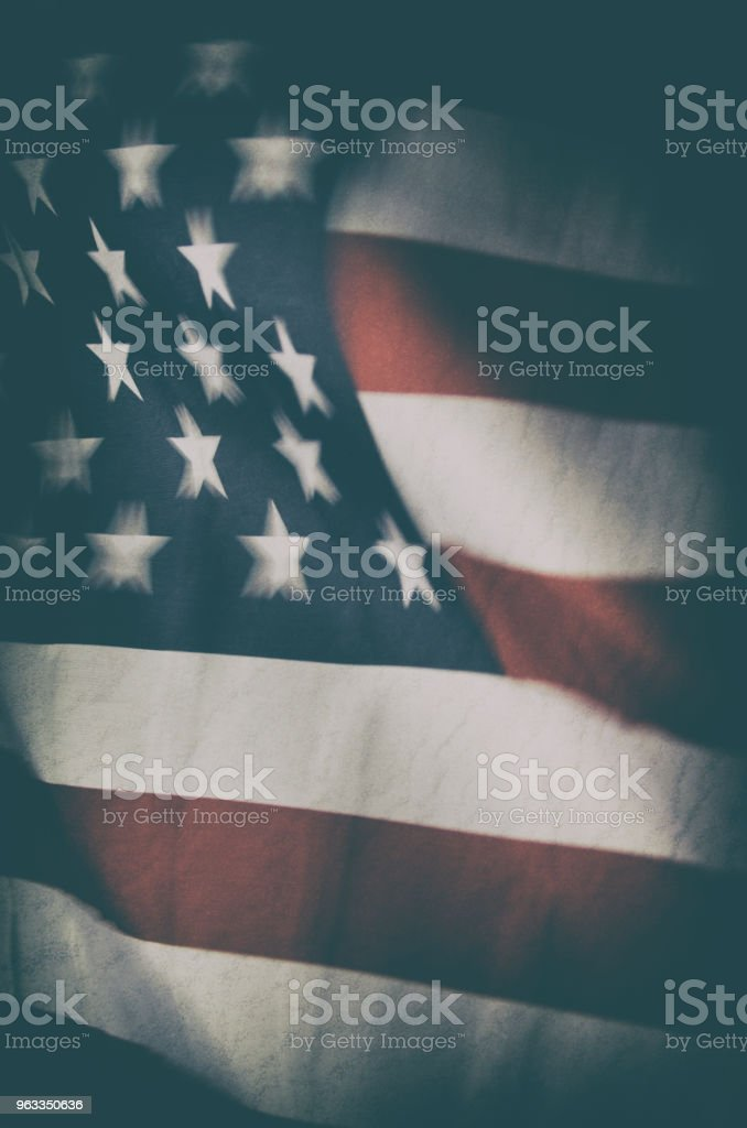 American Flag Flying in Night Wind stock photo