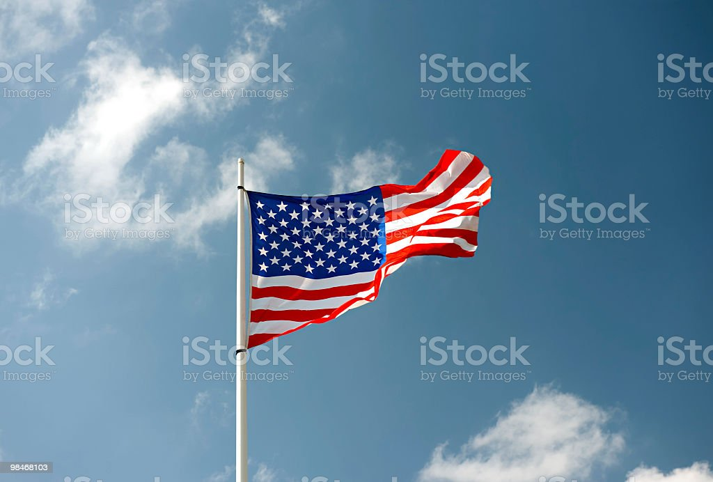 American flag flying royalty-free stock photo