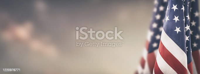 istock American flag for Memorial Day, 4th of July, Labour Day 1220976771