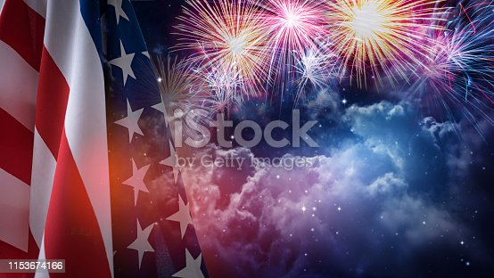 istock American flag for Memorial Day or 4th of July. 1153674166