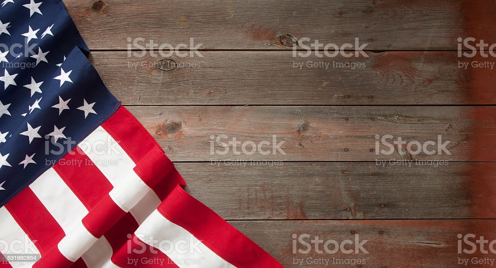 American Flag Fourth of July on Old Wood Background stock photo