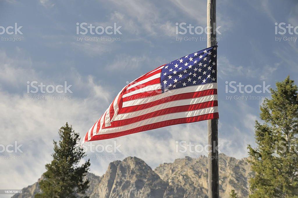 American Flag, Grand Tetons stock photo