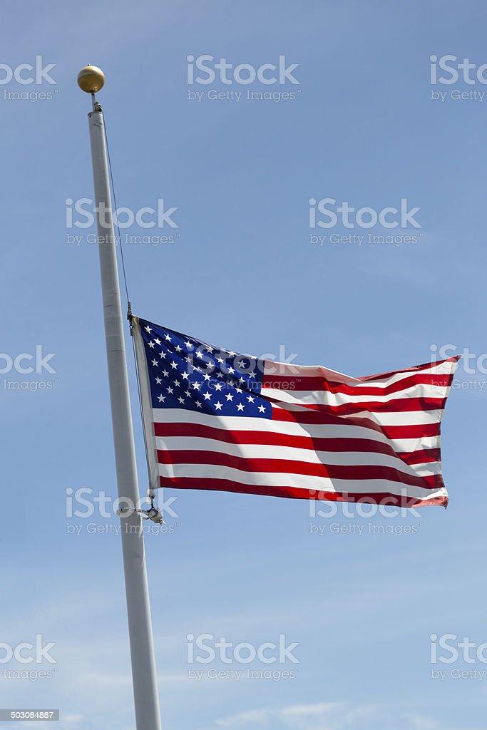 American Flag, Half-mast stock photo