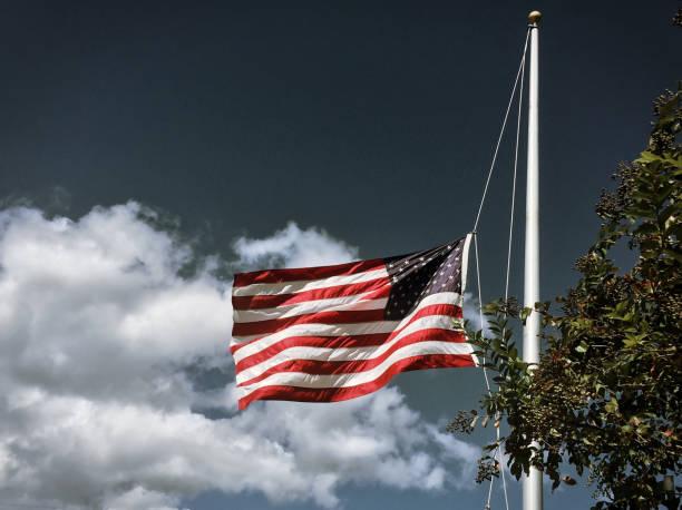 American Flag Half-Mast stock photo