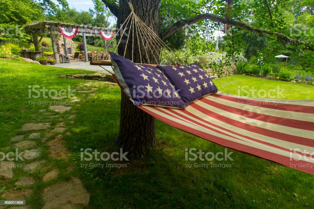 American flag hammock stock photo