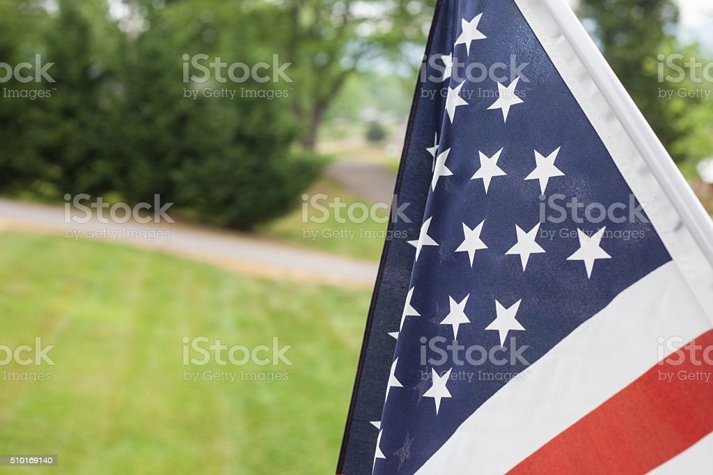 American Flag hanging stock photo