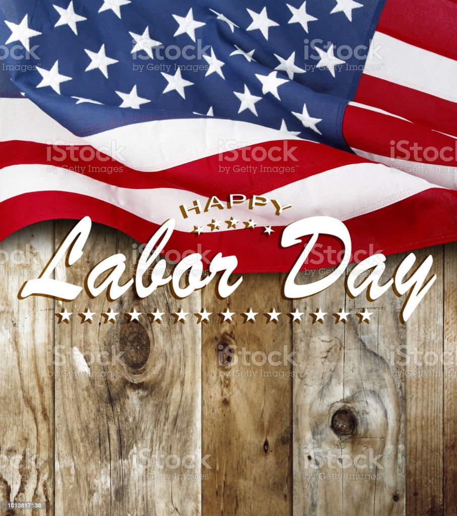 American flag. Happy Labor Day stock photo