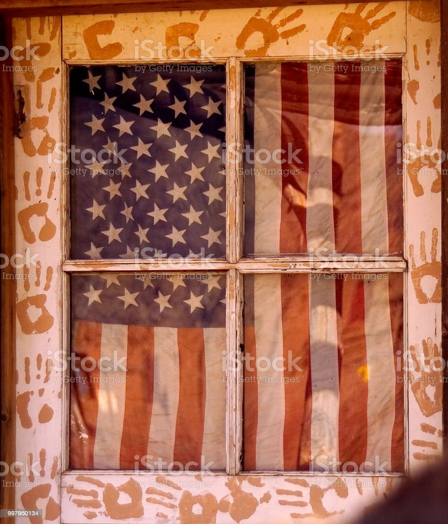 Americana styled vintage weathered wooden door with patriotic feel....