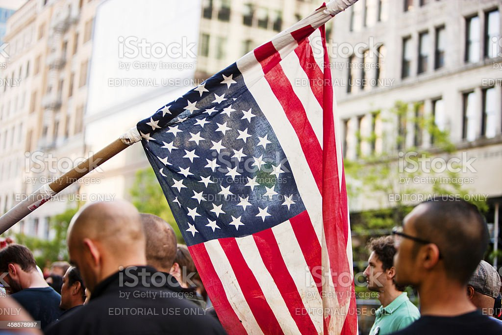 American Flag in a crowd of protestors, New York royalty-free stock photo