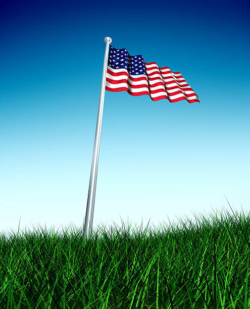 American Flag in Grass Field stock photo