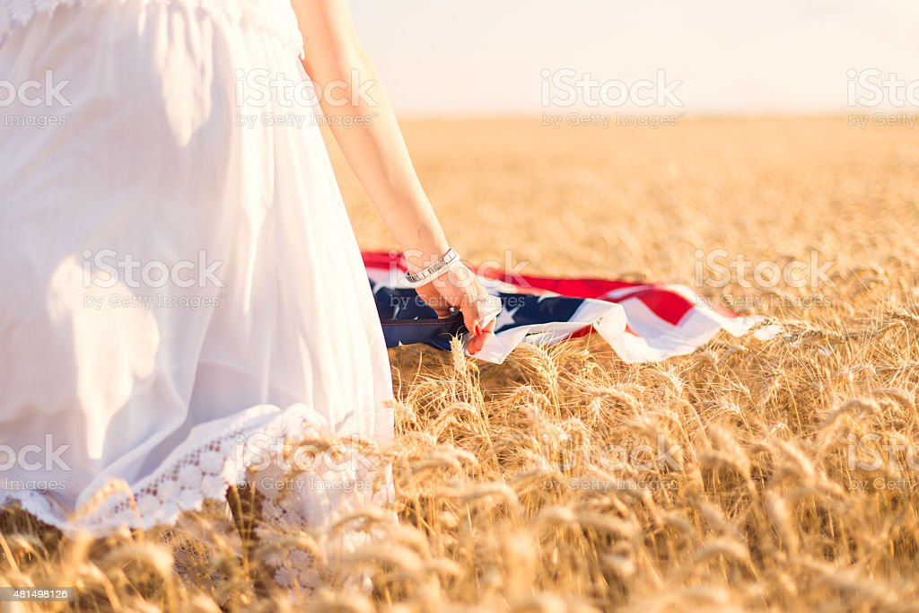American Flag in nature stock photo