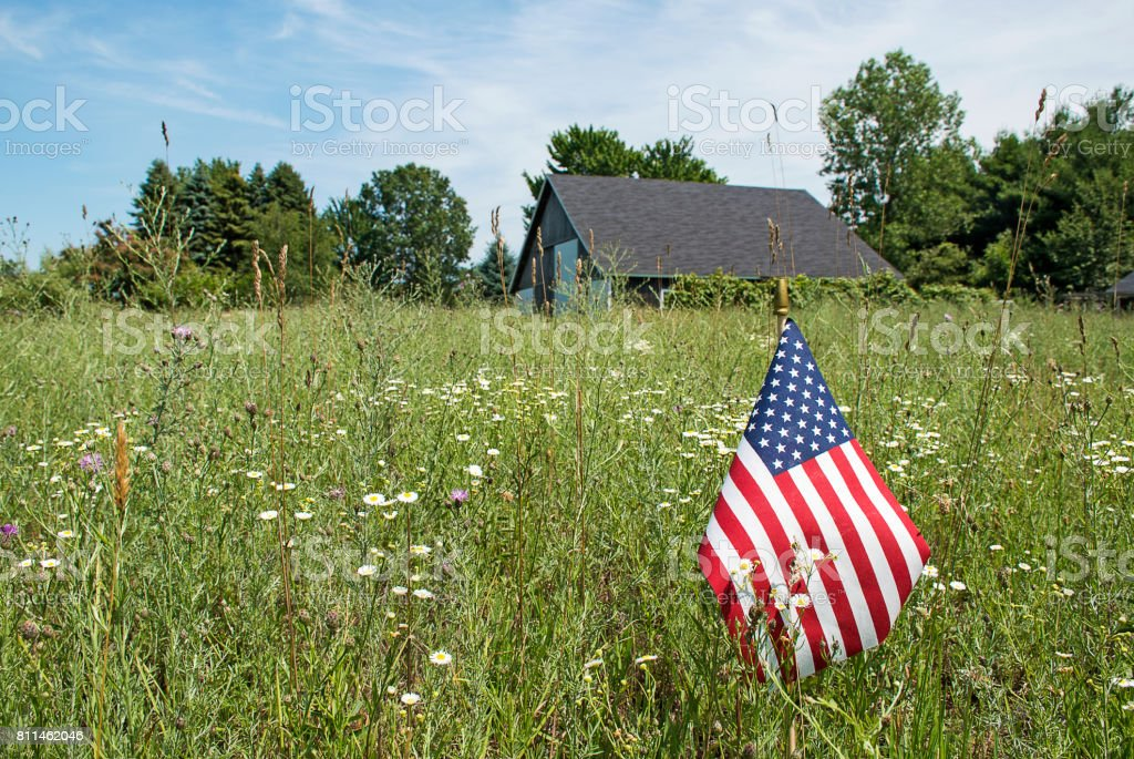 American flag in rural field stock photo
