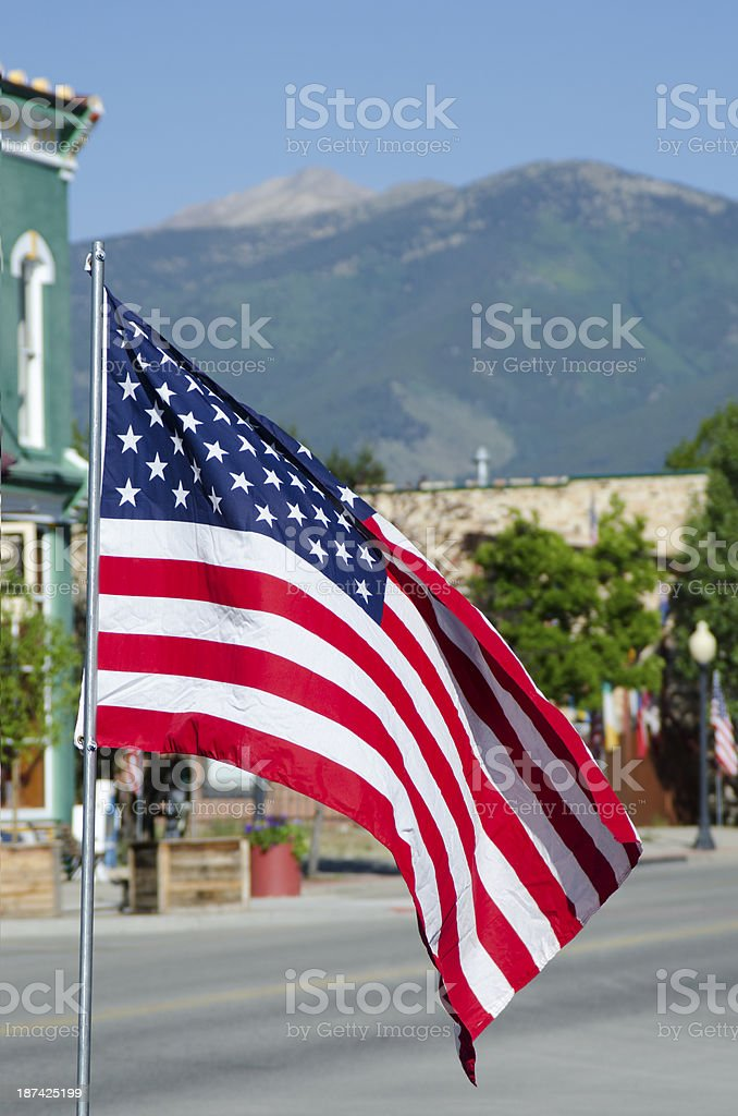 American Flag in Small Town America stock photo