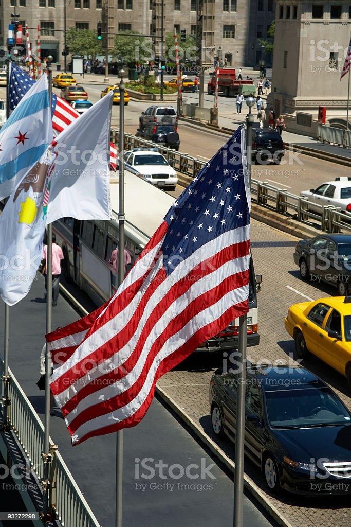 American Flag in the City royalty-free stock photo