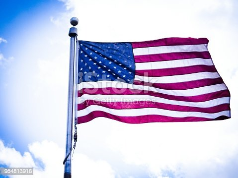 istock American Flag In The Cloudy Sky 954813916