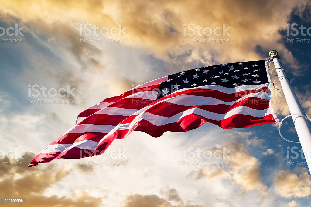 american flag in the sky royalty-free stock photo