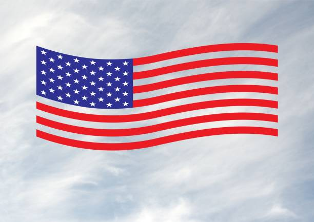 Amerikanische Flagge in den Himmel – Foto