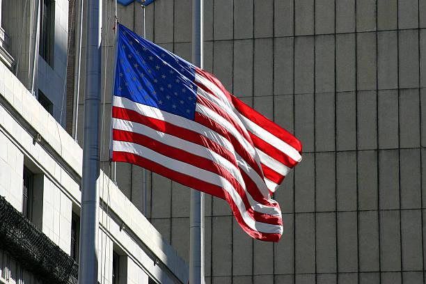 American Flag In Urban Setting stock photo
