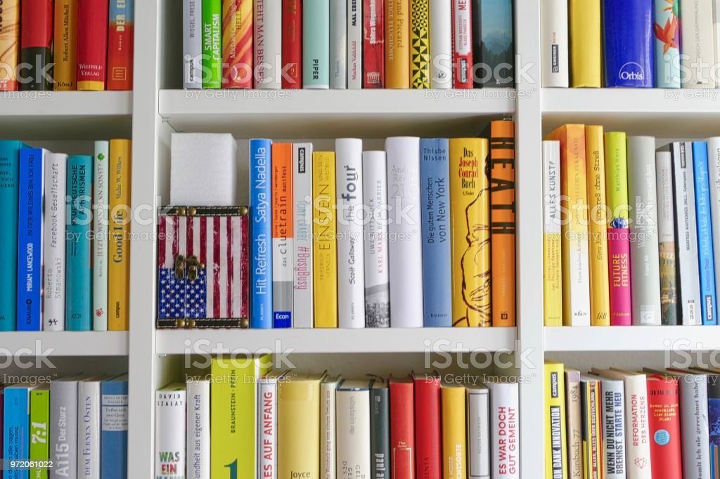 American Flag Inside A Bookshelf Royalty Free Stock Photo