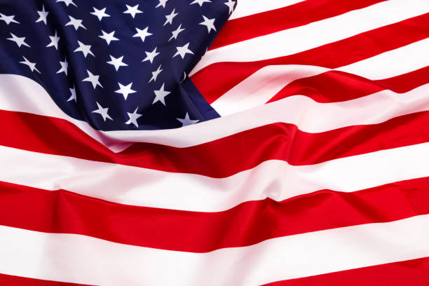 american flag isolated on white background - image - fourth of july стоковые фото и изображения