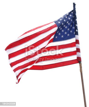 American Flag on old wooden stick isolated on white