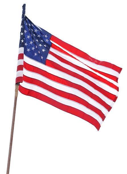 amerikanische flagge, isoliert auf weiss - pfosten stock-fotos und bilder