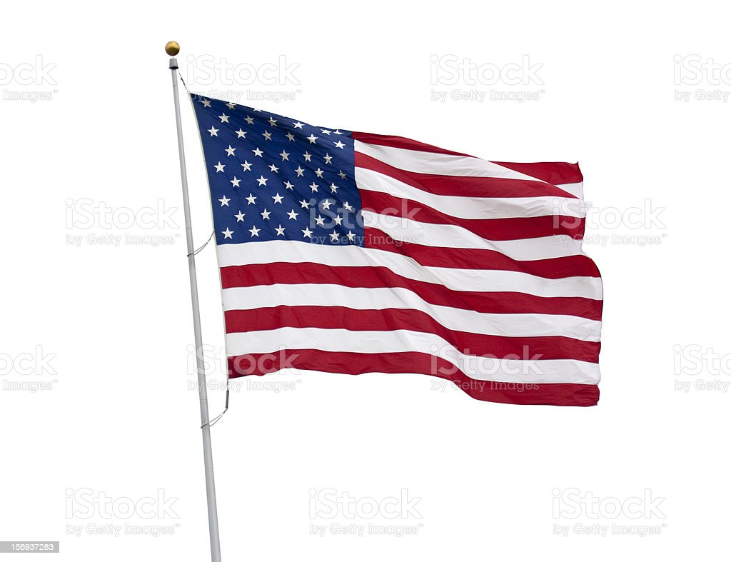 American flag isolated on white with clipping path royalty-free stock photo