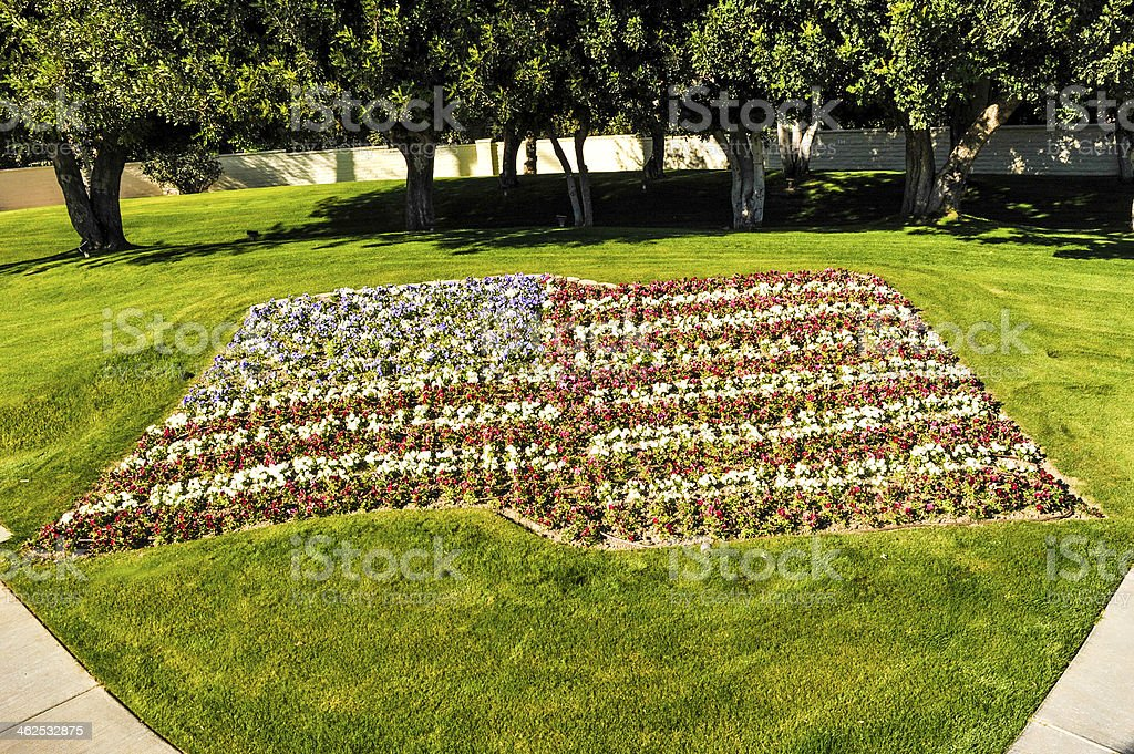 American flag made of colorful flowers stock photo
