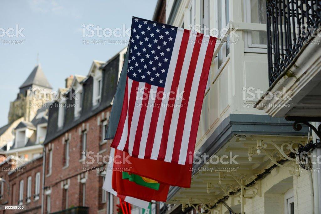 Amerykańska flaga Normandia - Zbiór zdjęć royalty-free (1944)