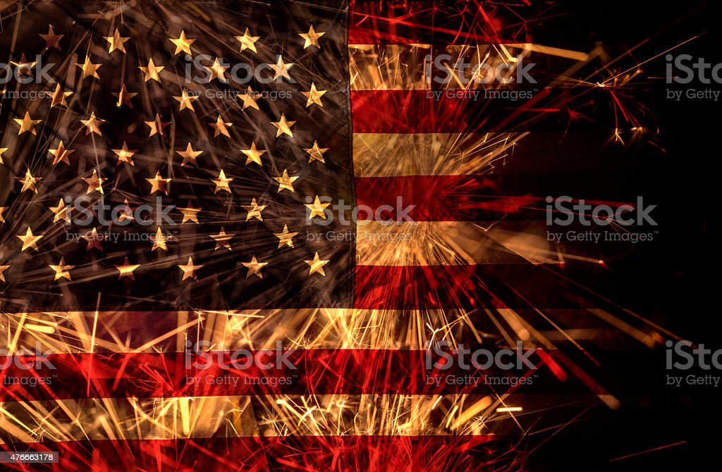 American flag of sparklers stock photo