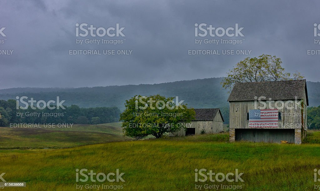 American flag on a Barn stock photo