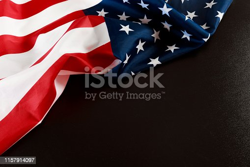 istock American flag on a black  background  top view - Image 1157914097