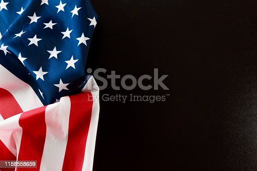 istock American flag on a black  background  top view - Image 1158558659