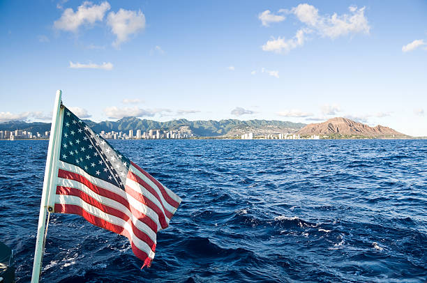 American flag on a boat in Hawaii stock photo