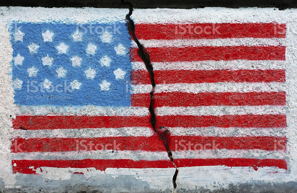 American flag on a cracked wall stock photo