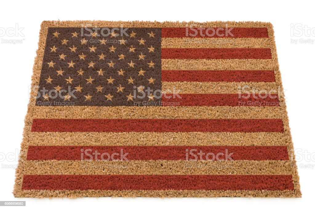 American Flag on a doormat stock photo