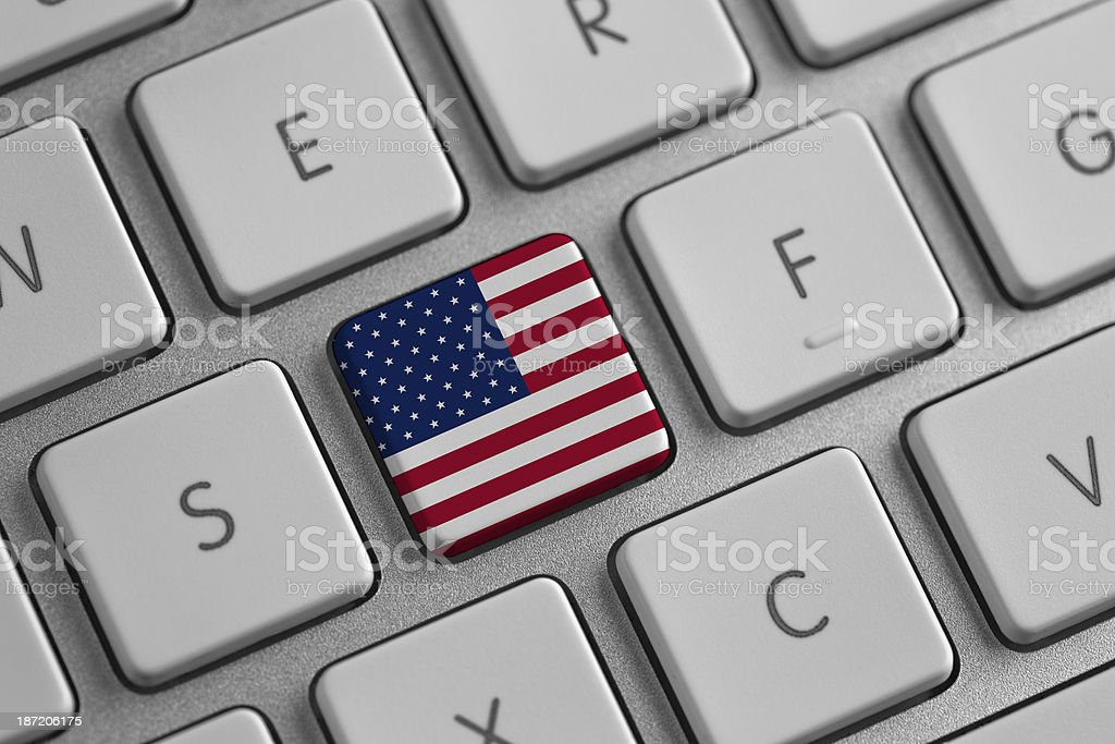 American flag on a laptop stock photo