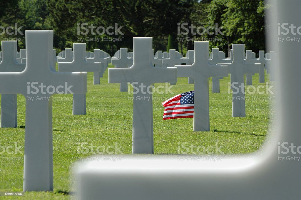 American flag on a military cemetery. royalty-free stock photo