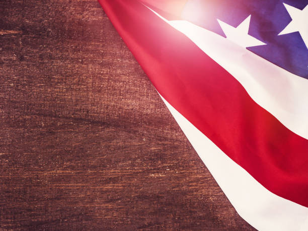 american flag on a wooden, vintage surface - happy 4th of july stock pictures, royalty-free photos & images