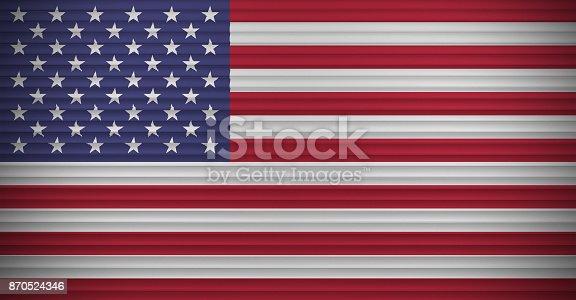 istock American flag on aluminum wall 870524346