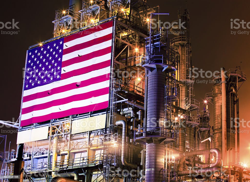 American Flag on an Oil Refinery stock photo