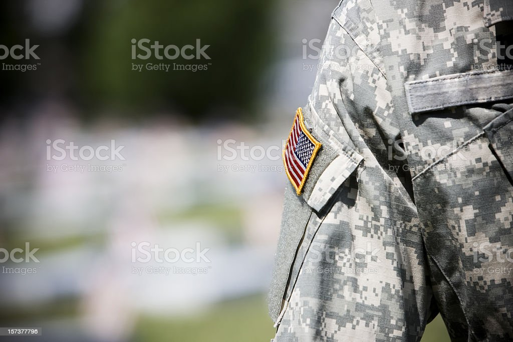American Flag on Army Military Uniform, Copy Space stock photo
